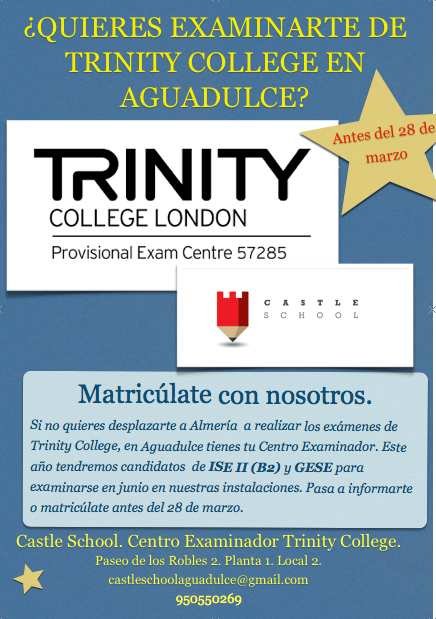 Examínate en Aguadulce de Trinity College Exams.